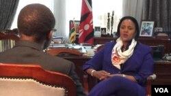 Kenyan Foreign Secretary Amina Mohamed talks to VOA's Vincent Makori about U.S. President Barack Obama's upcoming visit in Nairobi, Kenya, July 23, 2015. (VOA / Arash Arabasadi)