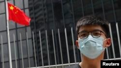 香港民主活動人士黃之鋒2020年6月3日對港版國家安全法表示憂慮(路透社)