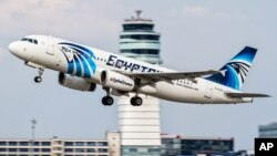 FILE - EgyptAir Airbus A320 takes off.