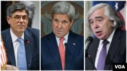 ارنست مونیز، جان کری و جک لو وزرای انرژی، خارجه و خزانه داری آمریکا.