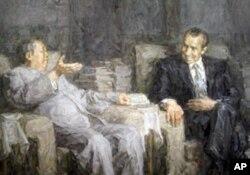 """庆祝中共建党90周年书画展上的油画""""毛泽东会见尼克松"""""""