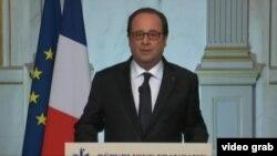 法国总统奥朗德就袭击发表讲话(VOA网站视频截图)