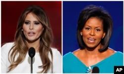 2016年7月18日,在共和党全国代表大会上,唐纳德·川普夫人梅拉尼亚·川普发表演说(左)。2008年8月25日,在民主党全国代表大会上,奥巴马夫人米歇尔·奥巴马发表演讲。