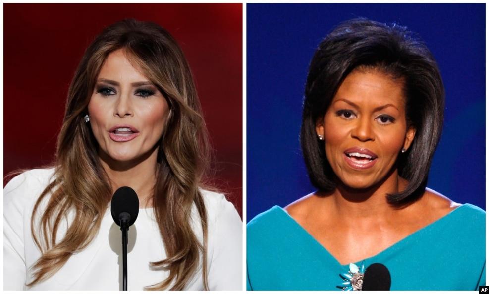 """2016年7月18日,在共和党全国代表大会上,唐纳德·川普夫人梅拉尼亚·川普发表演说(左)。2008年8月25日,在民主党全国代表大会上,奥巴马夫人米歇尔·奥巴马发表演讲。川普夫人的有些话被认为是抄袭奥巴马夫人,但川普竞选阵营否认,并说这些都是常见词。梅拉尼亚·川普说:""""从小,我父母就教导我这样的价值观,生命中你要什么,要努力去争取,言出必行,信守承诺,以礼待人。""""米歇尔·奥巴马八年前说:""""巴拉克和我受到同样价值观的熏陶,生命中你要什么,要努力去争取,言出必行,信守承诺,以礼待人。""""梅拉尼亚说:""""因为我们希望这个国家的孩子们知道,唯有追求梦想的强烈程度、唯有为实现梦想付出的努力,可以框限你的成就。""""米歇尔八年前说:""""我们要我们的孩子,和这个国家所有孩子知道,唯有追求梦想的强烈程度、唯有为实现梦想付出的努力,可以框限你的成就。"""""""