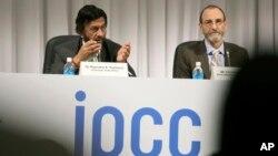 유엔 '정부간기후변화위원회'가 관계자들이 31일 일본 요코하마에서 최근 발표한 기후변화 보고서에 대해 설명하고 있다.