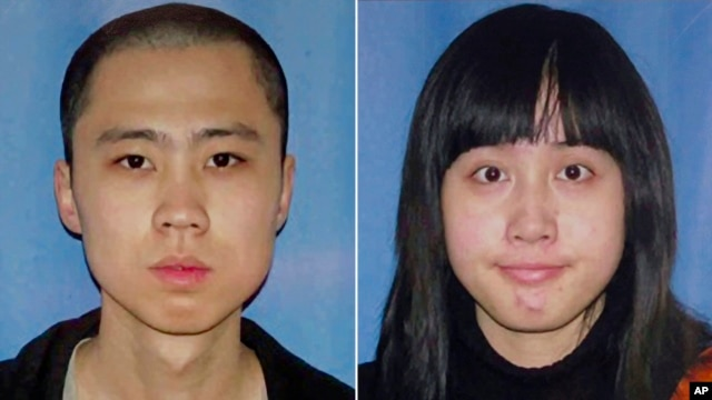 FILE - An April 13, 2012, file combo made from undated file photos released by the Los Angeles Police Department shows shooting victims Ming Qu, left, and Ying Wu.