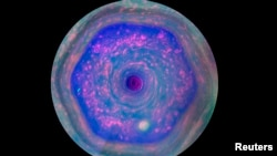 The unique six-sided jet stream at Saturn's north pole known as the hexagon taken by NASA's Cassini mission is seen in this still handout image from a movie released on December 4, 2013.