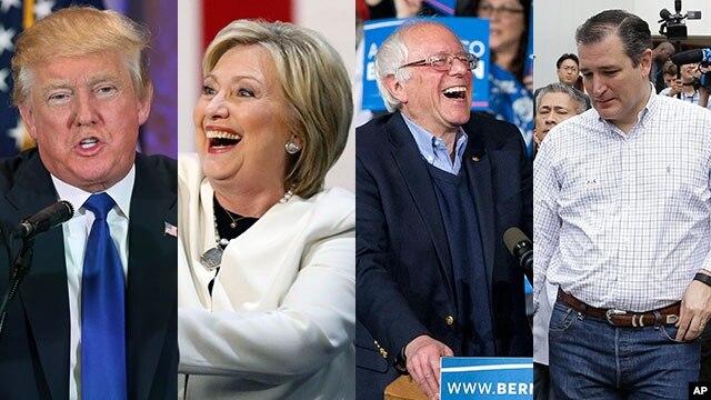 Các ứng viên tổng thống Mỹ (từ trái): Donald Trump, Hillary Clinton, Bernie Sanders, và Ted Cruz.