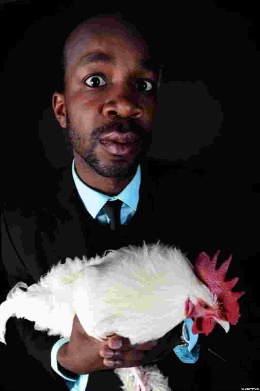 """Black people love chicken,"" says Kibuuka, who's on a mission to get people of different races to laugh at ethnic stereotypes and eccentricities (Courtesy D. Kibuuka)"