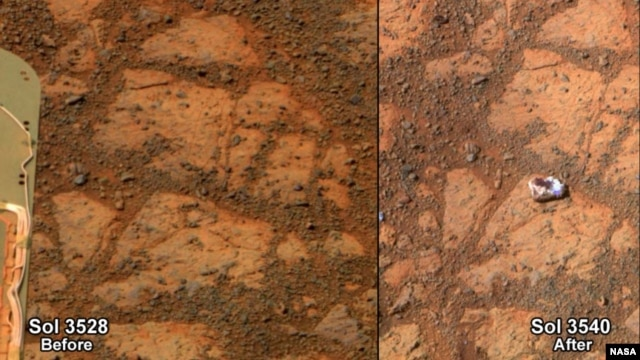 The images are from Opportunity's panoramic camera (Pancam). The one on the left is from 3,528th Martian day, or sol, of the rover's work on Mars (Dec. 26, 2013). The one on the right, with the newly arrived rock, is from Sol 3540 (Jan. 8, 2014). ( NASA/JPL-Caltech/Cornell Univ./Arizona State Univ.)