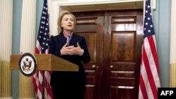 Državna sekretarka Hilari Klinton na konferenciji za novinare povodom objavljivanja tajnih diplomatskih dokumenata SAD, Stejt department, 29. novembar 2010.