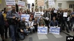 Протест журналистов в Мадриде, Испания