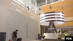 2014天津夏季达沃斯论坛会场进入装修准备倒计时 (美国之音东方 拍摄)
