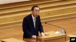 ကုလသမဂၢ အတြင္းေရးမွဴးခ်ဳပ္ ဘန္ကီမြန္း (Ban ki-moon) ျပည္ေထာင္စု လႊတ္ေတာ္ သုိ႔ မိန္႔ခြန္း ေျပာစဥ္။ ဧၿပီ ၃၀ ၂၀၁၂။
