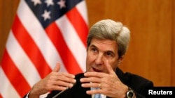 Ngoại trưởng Mỹ John Kerry tại một cuộc họp báo ở Riyadh, Saudi Arabia, ngày 18/12/2016.