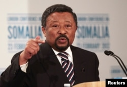 FILE - Jean Ping speaks to reporters in London, Feb. 23, 2012.