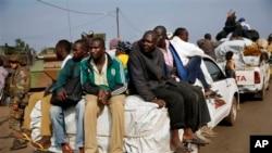 Des musulmans fuyant Bangui
