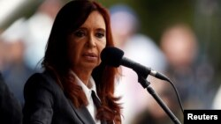 FILE - Former Argentine President Cristina Fernandez addresses a rally outside a Justice building in Buenos Aires, Argentina, April 13, 2016.