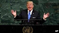 Donald Trump devant l'Assembée générale de l'ONU, New York, le 19 septembre 2017. N