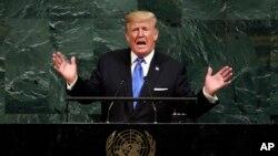 Presiden Donald Trump berbicara di Sidang Umum PBB ke-72 di New York, 19 September 2017. (Foto:Dok)
