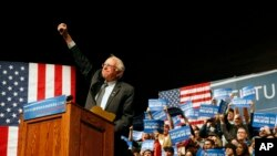 Kandidat calon presiden AS dari Partai Demokrat, Bernie Sanders, dalam kampanye di Laramie, Wyoming (5/4). (AP/Brennan Linsley)