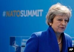 테레사 메이 총리가 11일 벨기에 브뤼셀의 나토(NATO ·북대서양조약기구) 본부에서 열린 나토 정상회의에 도착하고 있다.