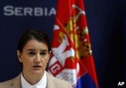 FILE - Serbian Prime Minister Ana Brnabic speaks during a press conference in Belgrade, Serbia, Nov. 21, 2017.