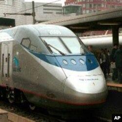 Barack Obama veut préserver les investissements dans les TGV , comme l'Acela Express de la compagnie Amtrak