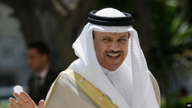 """FILE - Gulf Cooperation Council Secretary General Abdullatif al-Zayani, shown at Arab League headquarters in Cairo in September 2014, says it's the council's view that Iran """"carries the responsibility"""" for recent attacks on Saudi diplomatic facilities."""