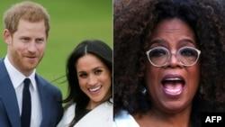 Kombinovane arhivske fotografije princa i vojvotkinje od Saseksa u Kengsingtonskoj palati 2017. i američke TV zvezde Opre Vinfri u Njujorku, 2019.