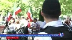 رای دادن برخی ایرانیان در شهر واشنگتن و اعتراض مخالفان جمهوری اسلامی به آنها