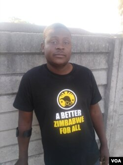 Tatenda Mombeyarara, 37, says he is recovering after being assaulted while detained in August for helping to organize anti-government protests, in Harare, Sept. 27, 2019. (C. Mavhunga/VOA)
