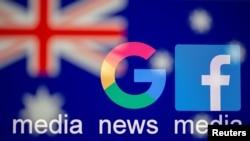 谷歌和脸书标识,背景为澳大利亚国旗。