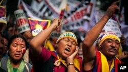 31일 인도 뉴델리에서 티베트 사태에 대한 국제사회의 관심을 촉구하기 위해 벌어진 시위.