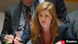 "FILE - Samantha Power, the U.S. ambassador to the United Nations, says Russia's call for a review of an apparently errent U.S. bombing in Syria was a ""stunt"" designed to divert public attention from Syrian government atrocities."