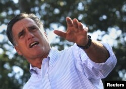 FILE - U.S. Republican presidential candidate Mitt Romney speaks during a campaign stop in St. Augustine, Florida Aug. 13, 2012.