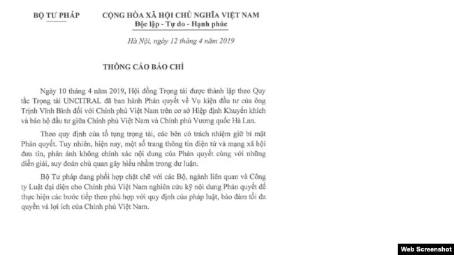 Thông báo của Bộ Tư pháp Việt Nam về kết quả vụ Trịnh Vĩnh Bình kiện chính phủ VN, ngày 12/4/2019. Bộ Tư pháp VN