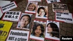 Chân dung của 5 phụ nữ bị bắt được nhìn thấy trong một cuộc biểu tình đòi tự do cho họ ở Hồng Kông, 11/4/2015.
