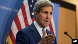 FILE - U.S. Secretary of State John Kerry speaks during a news conference.