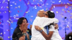 Snigdha Nandipati celebrates her spelling bee victory with her grandparents, Mallikarjunarao and Rajeswari Chalavadi