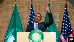 에디오피아를 방문한 바락 오바마 미국 대통령이 28일 아디스아바바의 아프리카 연합에서 연설하고 있다.