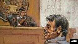 Crtež Mansora Arbabsiara tokom pojavljivanja pred sudom u Njujorku, 11. septembra. Crteži se izrađuju u slučajevima kada sudija ne dozvoli foto snimanja u sudnici