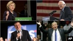 美國總統選戰兩黨參選人本星期加緊競選。克林頓(左上)﹐桑德斯(右上)﹐川普(右下)與克魯茲(左下)。