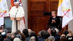 El papa Francisco pronunció un discurso en el el palacio presidencial de Chile donde fue recibido por la presidente Michelle Bachelet el martes, 16 de enero de 2018.
