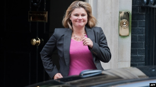 British politician Justine Greening leaves No. 10 Downing Street in central London on Sept. 4, 2012.