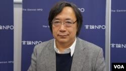 日本言论NPO代表工藤泰志强调,他们在中日韩从事民意调查,是为了增进邻国国民互相理解,谋求和平秩序(美国之音歌篮拍摄)