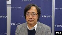 日本言論NPO代表工藤泰志強調,他們在中日韓從事民意調查,是為了增進鄰國國民互相理解,謀求和平秩序(美國之音歌籃拍攝)