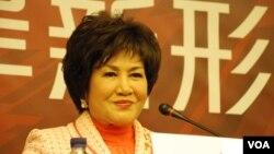 香江文化交流基金會主席江素惠表示,台灣太陽花學運不是傳統的藍綠惡鬥.(美國之音湯惠芸)