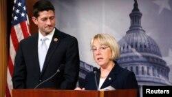 La senadora Patty Murray y el congresista Paul Ryean anuncia el acuerdo bipartidista, que debe ser sometido a votación en los próximos días en ambas Cámaras del Congreso.
