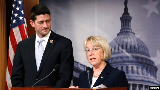 Senate Budget Committee chair Senator Patty Murray (R) and House Budget Committee chair Representative Paul Ryan announce the budget deal at a news conference at the U.S. Capitol in Washington, Dec. 10, 2013.